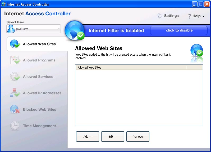 Click to view Internet Access Controller 2.3.2.261 screenshot